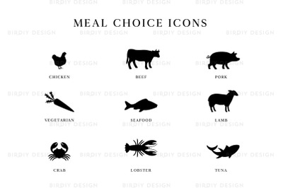 Wedding Meal Choice Icons Clipart
