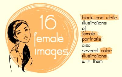 16 female portraits(PNG,PSD,AI,EPS)