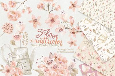 Watercolor Flora Clipart – Orange & Peach Watercolour Flower Floral Wreaths, Bouquets, Heart, Wedding