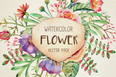 Watercolor Flower Vector Collection