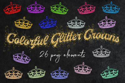 Sparkly Glittery Crowns Clipart
