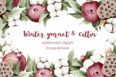 Winter watercolor garnet & cotton