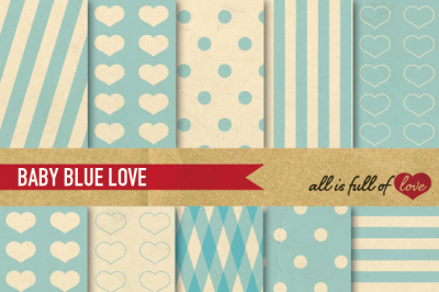 Vintage Backgrounds in Light Blue: Love Collection