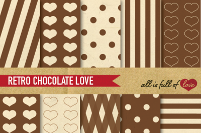 Vintage Backgrounds in Brown: Love Collection