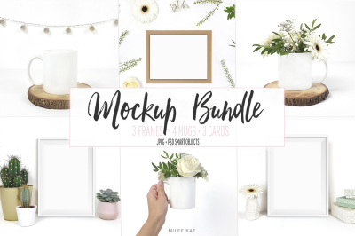 White botanical mockup bundle