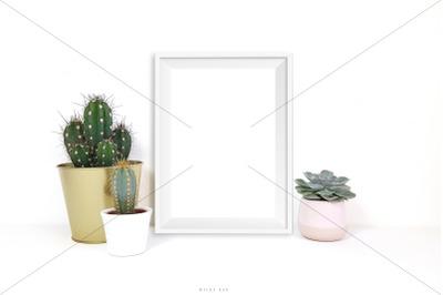 White frame mockup, JPG & PSD
