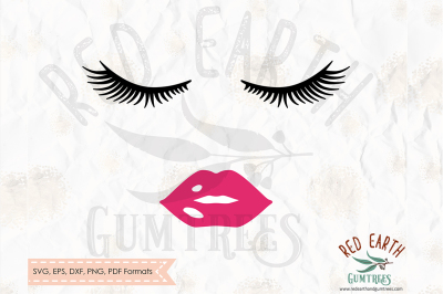 Eye lashes, lips cut file in SVG, DXF, PNG, PDF, EPS formats
