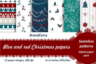 Blue and red Christmas digital paper