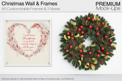 Christmas Wall and Frames Mockup Pack