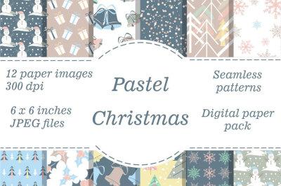 Pastel Christmas digital paper