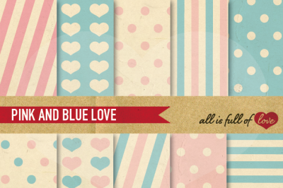 Vintage Backgrounds in Pink Blue: Love Collection