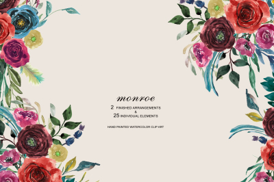 Hand Painted Watercolor Bold Colors Flowers Clipart