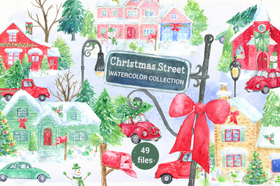 Watercolor Christmas Street