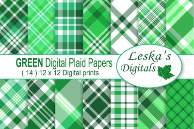 Green Plaid Digital Papers