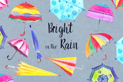 Watercolor Bright Umbrellas Clip Art