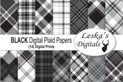 Black Plaid Digital Paper