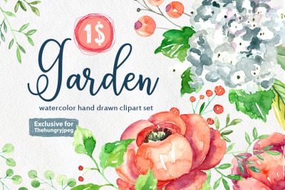 Watercolor garden flowers collection for $1 only!
