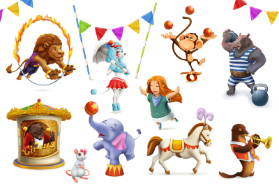 Circus funny animals, vector set