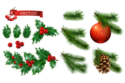 Christmas decorations, 3d vector set