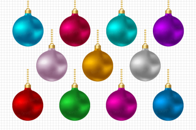Christmas Balls Clipart / Christmas Illustrations / Scrapbooking / Card Making