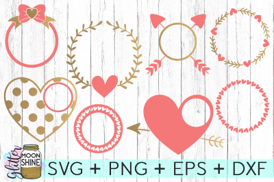 Love Monogram Frame Bundle SVG PNG DXF EPS Cutting Files