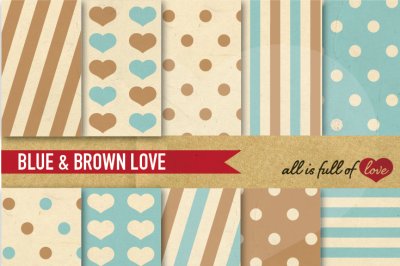 Vintage Backgrounds in Brown & Blue: Love Collection