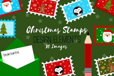 Christmas Stamps Letter to Santa Design Elements, Clip Art