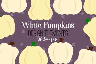 White Pumpkins Design Elements, Clip Art