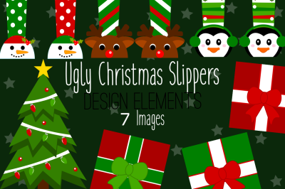Ugly Christmas Slippers Design Elements, Clip Art