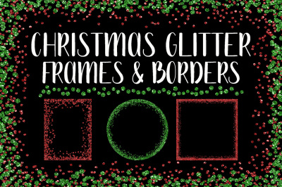 Christmas Glitter Frames and Borders PNG Clipart Bundle