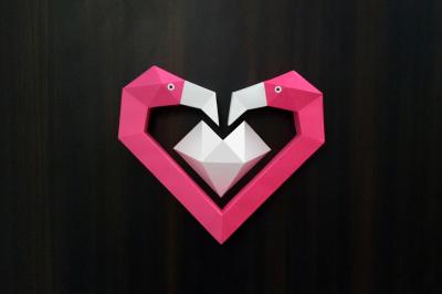 DIY Flamingo Heart - 3d papercraft