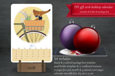 Desktop printable calendar Year Dog 2018
