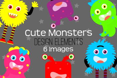 Cute Monsters Design Elements, Clip Art