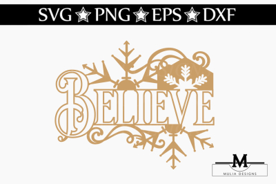 Believe Christmas Ornament SVG