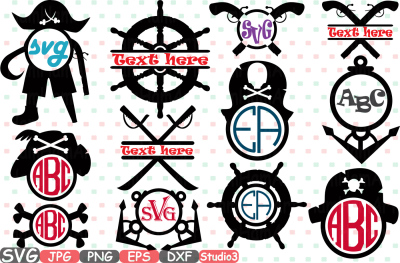 Pirate's Adventures Cutting Files svg Monogram black pearl illustration Set Digital eps png dxf jpg Clip Art Vector Clipart pistol black pearl pirates of carribean sea diy sign skull eye party love anchor boat sword  -221s