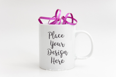 White mug mockup feminine romantic