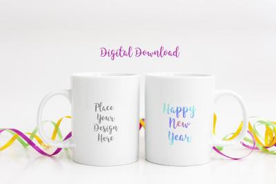 2 Coffee mug mockups pair of mugs