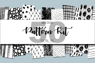 50 hand drawn pattern kit.