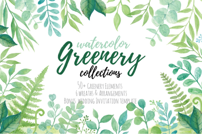 Watercolor Greenery Collection
