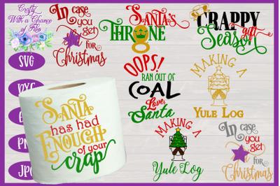 Christmas Toilet Paper SVG Bundle | Christmas Gag Gift SVG | Secret Sa