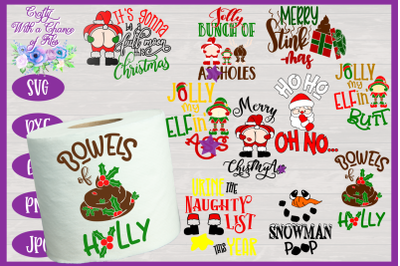 Christmas Toilet Paper SVG Bundle | Christmas Gag Gift SVG |