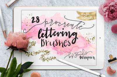 Procreate Lettering Brushes + Bonus