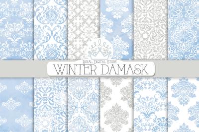 WINTER DAMASK WATERCOLOR Digital