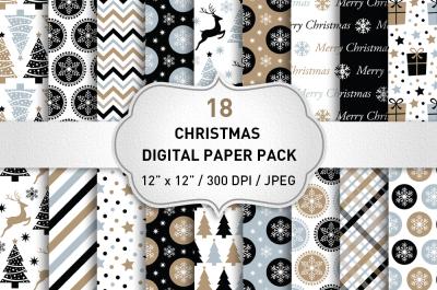 Christmas Digital Paper Pack / Christmas Backgrounds / Black Christmas Pattern / Scrapbook Paper