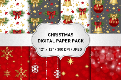 Red and Gold Christmas Digital Paper Pack / Christmas Backgrounds / Holiday Papers
