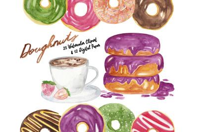 Doughnuts Watercolor Clipart