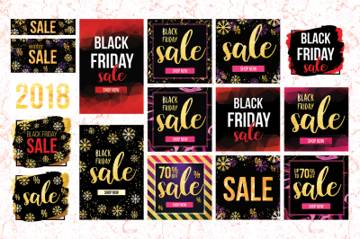 Set of Black Friday sale social media banners