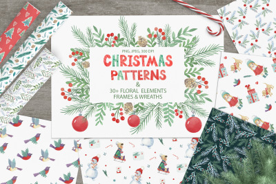 Watercolor Christmas patterns
