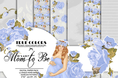 Mom to be Paper Pack Baby Boy Paper Pack Pregnant Paper Pack Pregnancy Paper Pack Blue Roses Printables Expecting a Child Digital Paper