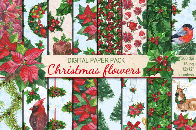 Christmas flowers watercolor seamless patterns